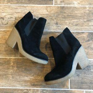 Anthropologie   Black Suede platform Ankle Boots